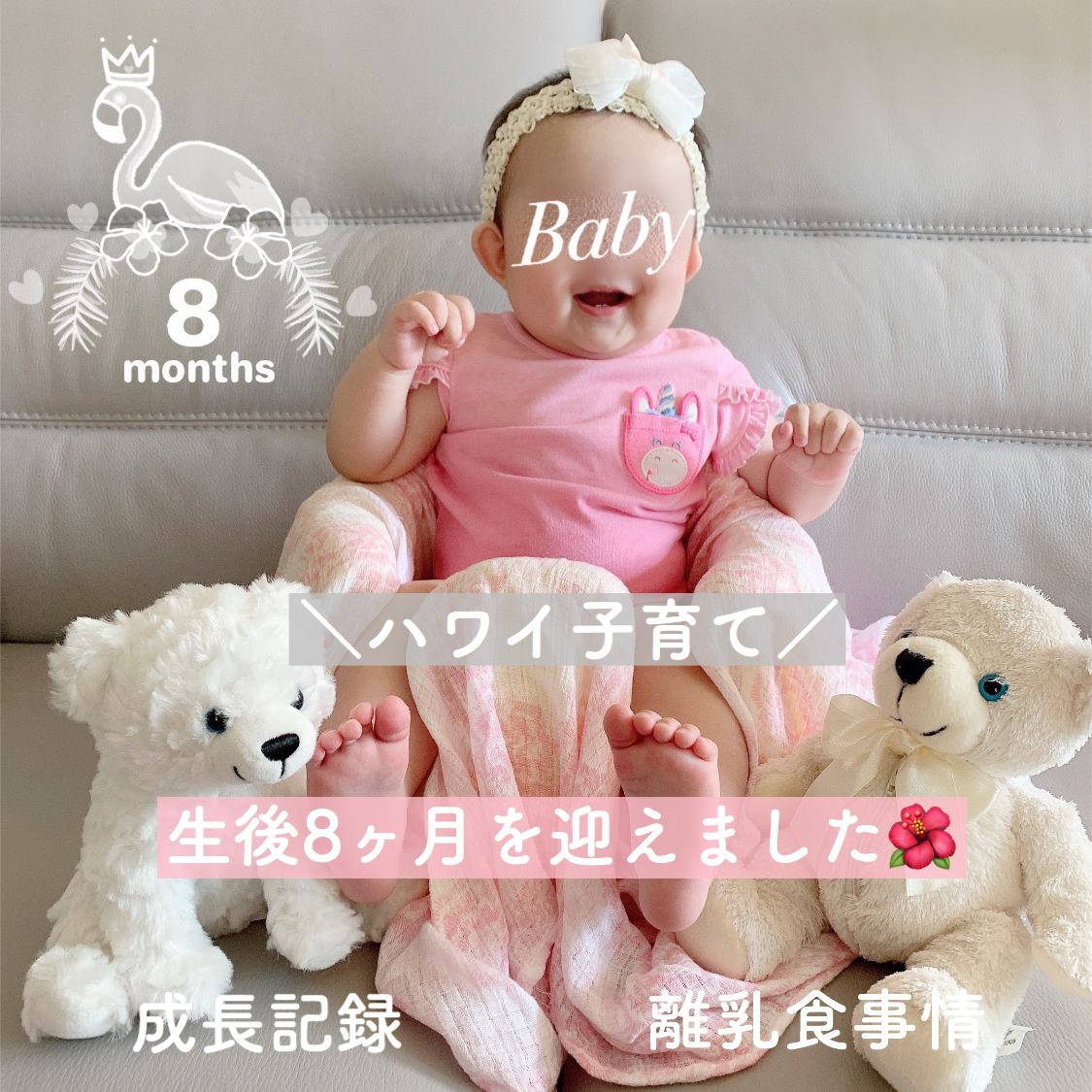【ハワイ子育て】娘の成長記録と離乳食事情【生後8ヶ月】