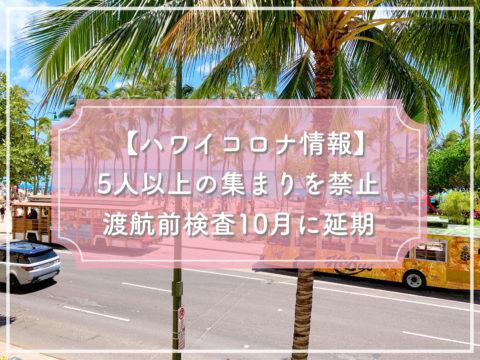 【ハワイコロナ情報】5人以上の集まりを禁止 渡航前検査を10月に延期